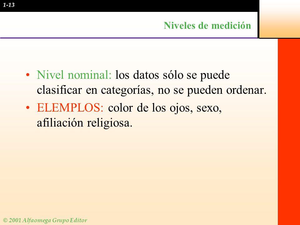 ELEMPLOS: color de los ojos, sexo, afiliación religiosa.