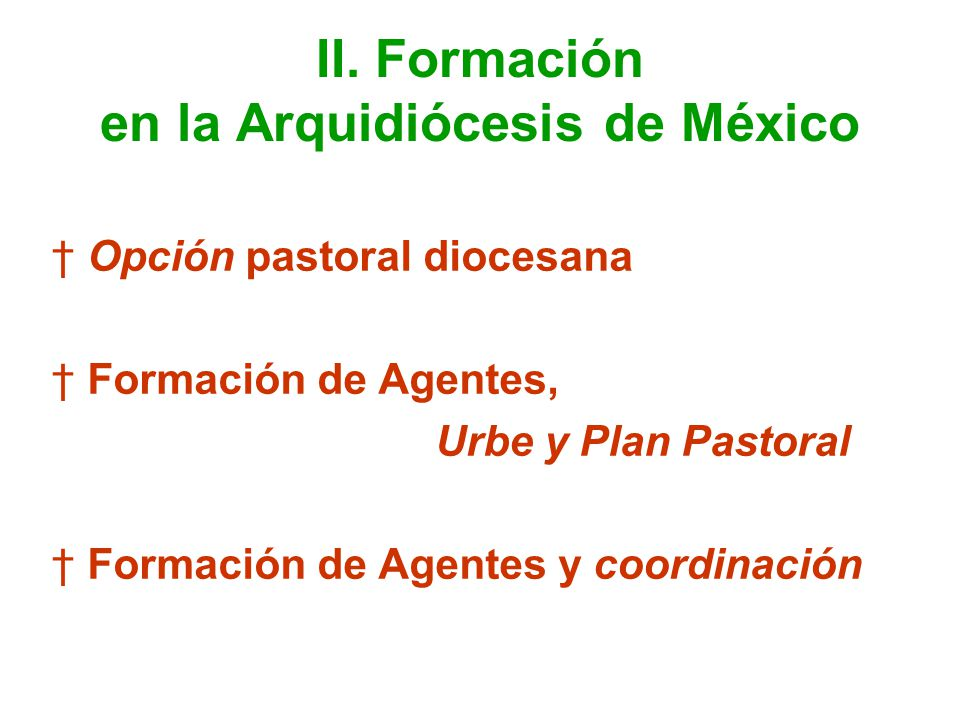 II. Formación en la Arquidiócesis de México