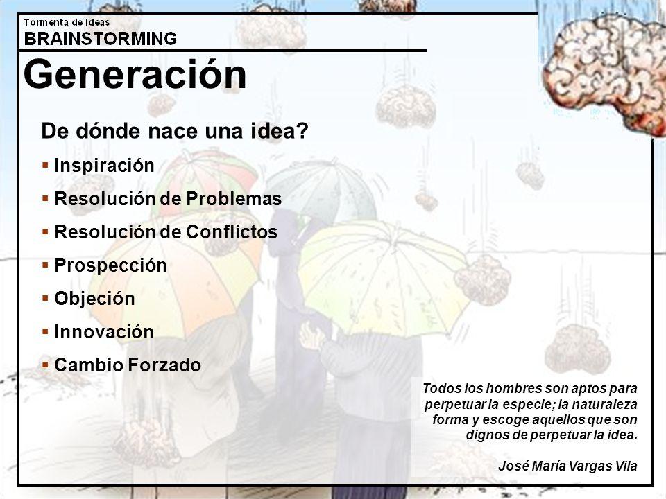 Generación De dónde nace una idea Inspiración Resolución de Problemas