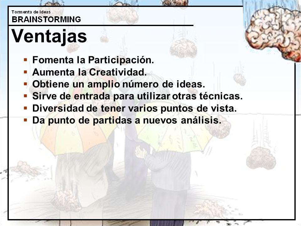 Ventajas Fomenta la Participación. Aumenta la Creatividad.