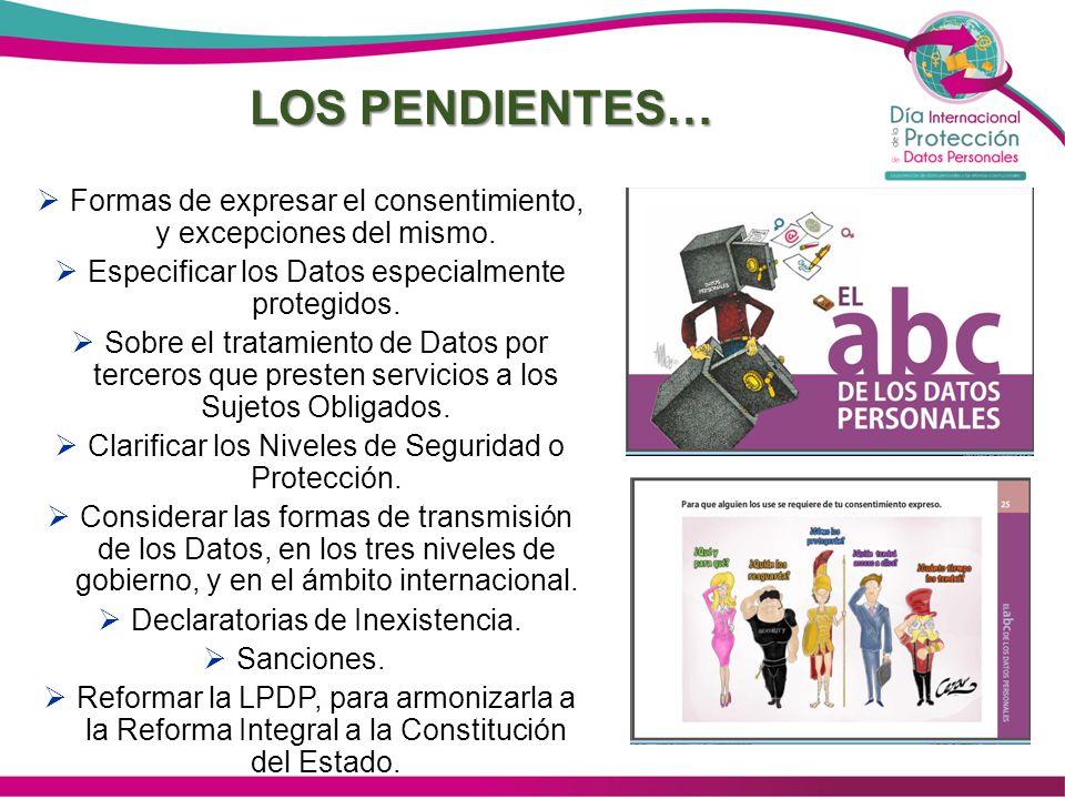LOS PENDIENTES… Formas de expresar el consentimiento, y excepciones del mismo. Especificar los Datos especialmente protegidos.