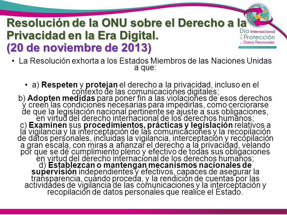 Resolución de la ONU sobre el Derecho a la Privacidad en la Era Digital. (20 de noviembre de 2013)