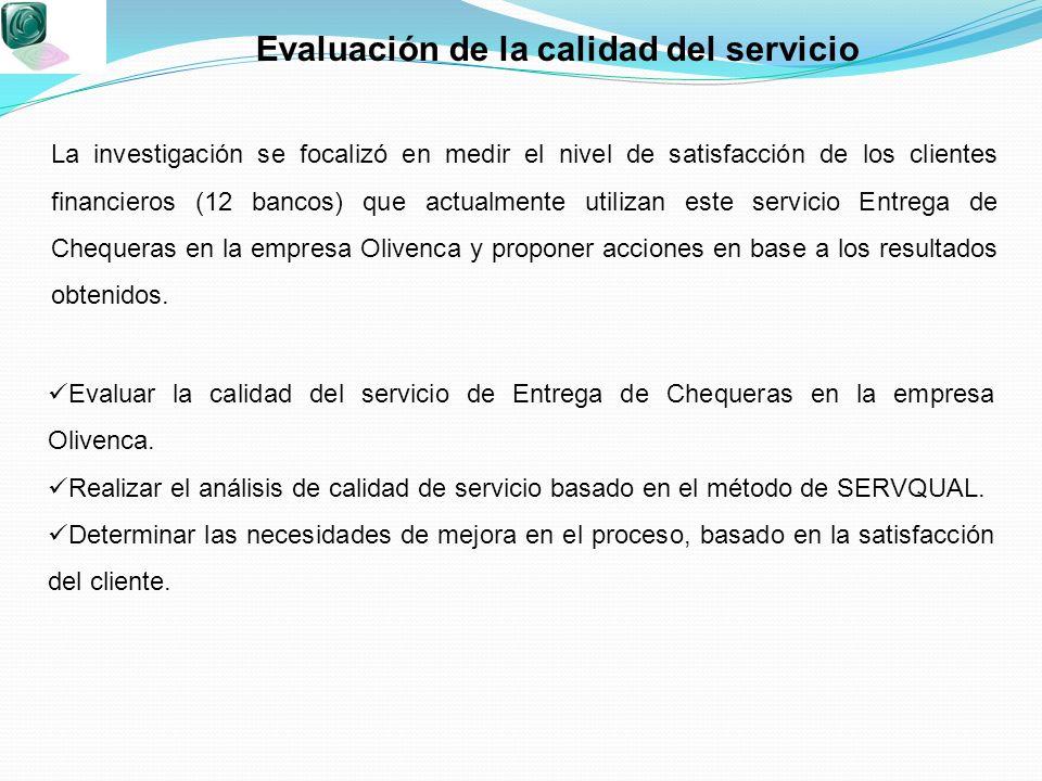 Evaluación de la calidad del servicio