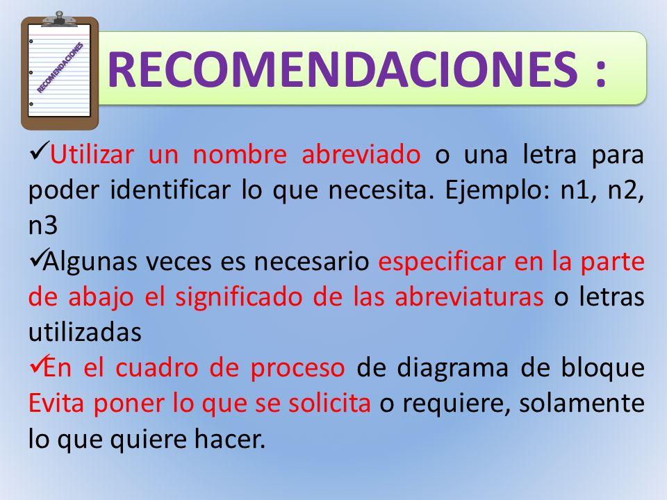 RECOMENDACIONES RECOMENDACIONES : Utilizar un nombre abreviado o una letra para poder identificar lo que necesita. Ejemplo: n1, n2, n3.