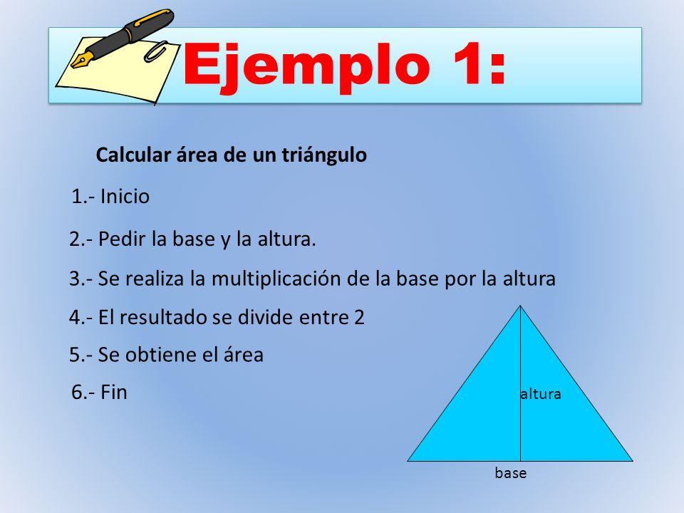 Ejemplo 1: Calcular área de un triángulo 1.- Inicio