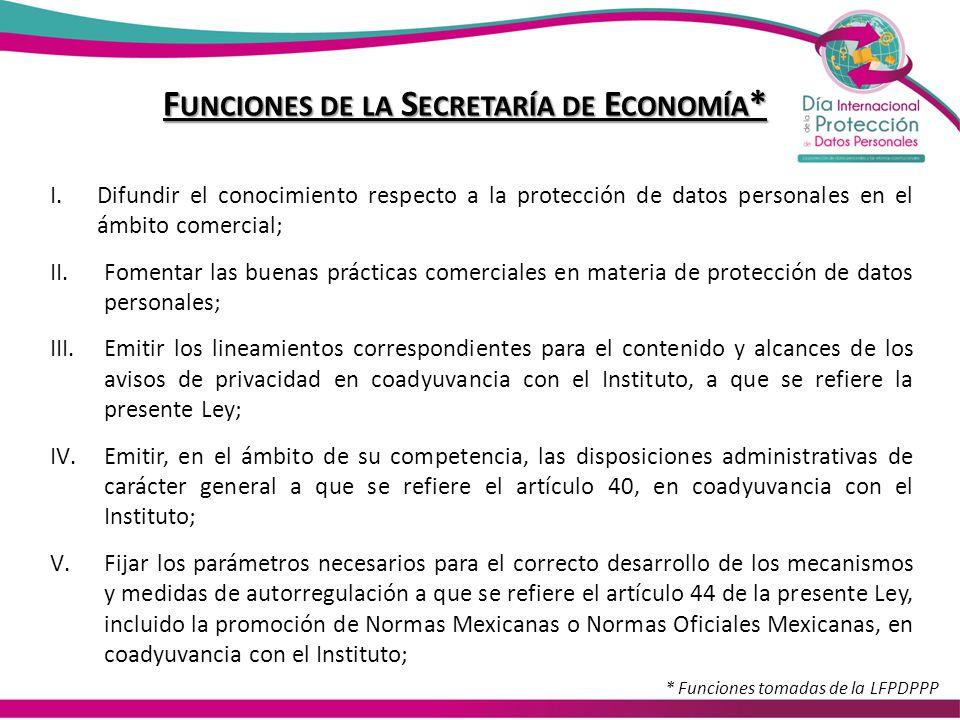 Funciones de la Secretaría de Economía*
