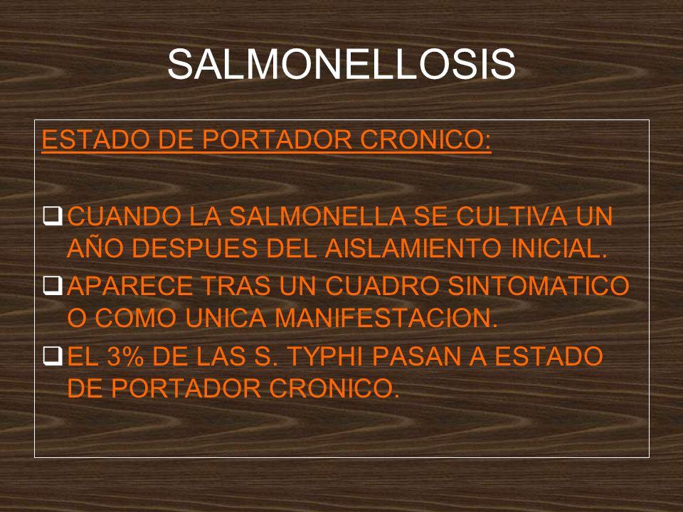 SALMONELLOSIS ESTADO DE PORTADOR CRONICO: