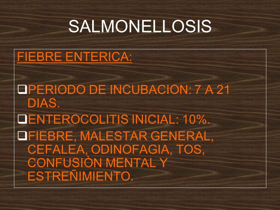 SALMONELLOSIS FIEBRE ENTERICA: PERIODO DE INCUBACION: 7 A 21 DIAS.