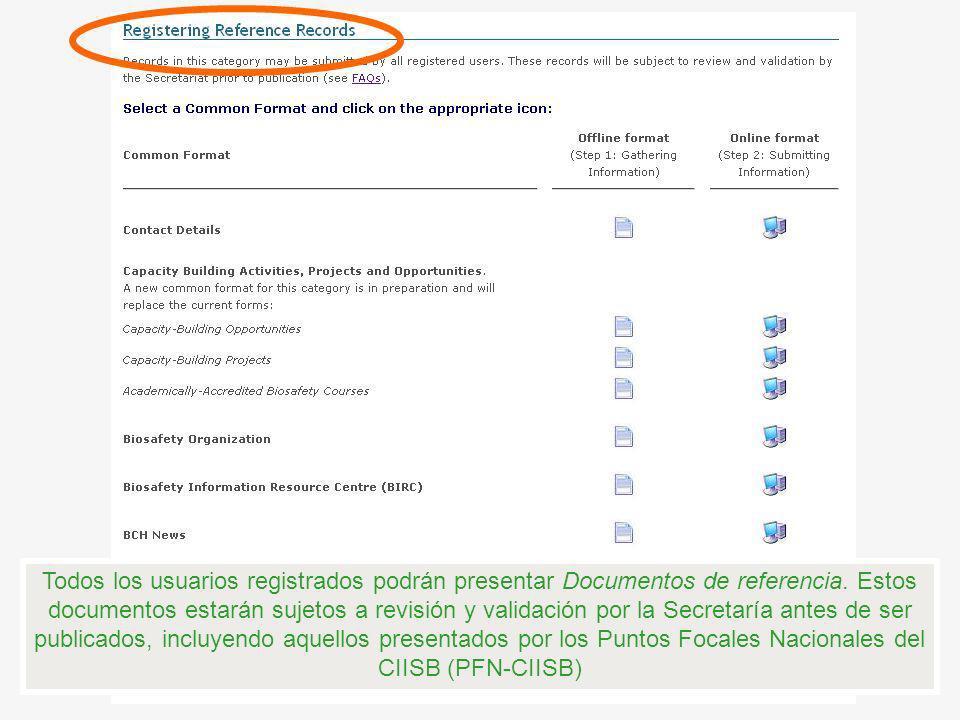 Todos los usuarios registrados podrán presentar Documentos de referencia.