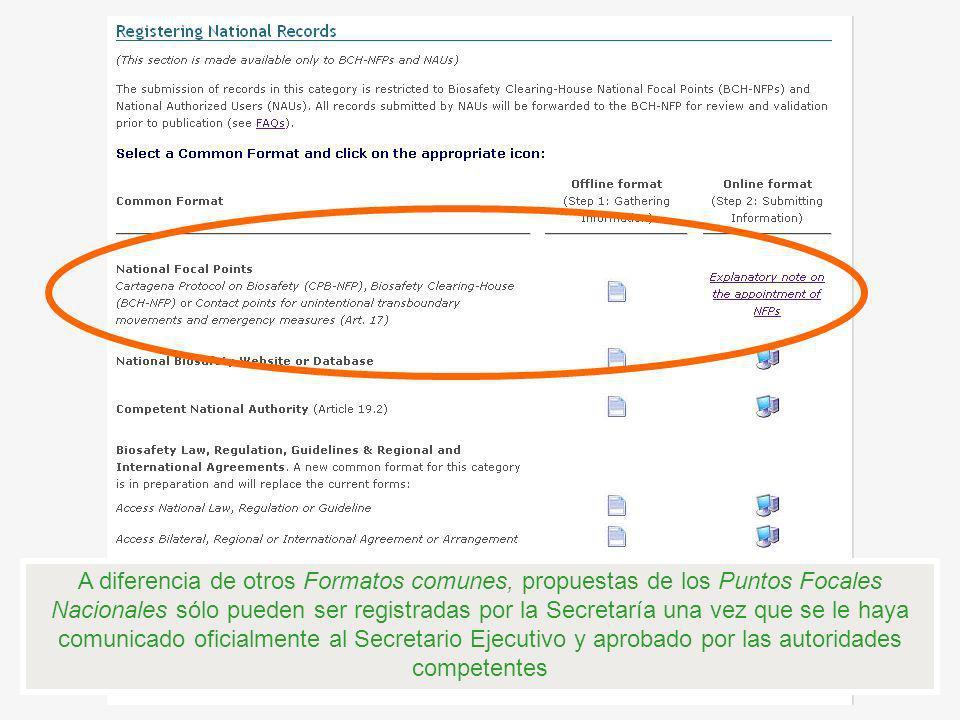 A diferencia de otros Formatos comunes, propuestas de los Puntos Focales Nacionales sólo pueden ser registradas por la Secretaría una vez que se le haya comunicado oficialmente al Secretario Ejecutivo y aprobado por las autoridades competentes