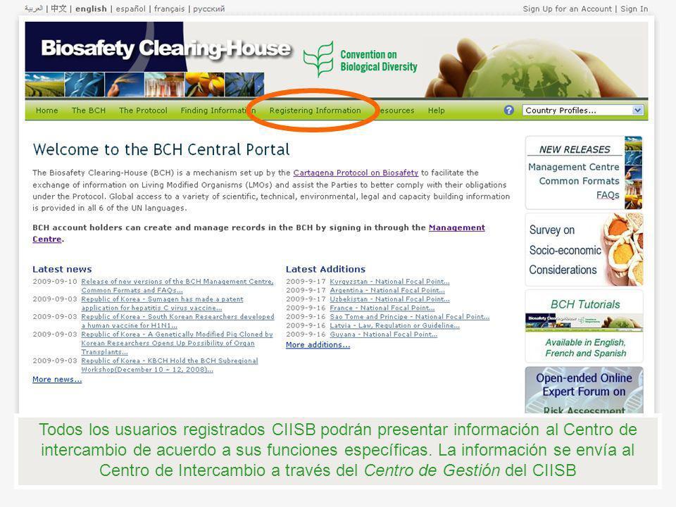 Todos los usuarios registrados CIISB podrán presentar información al Centro de intercambio de acuerdo a sus funciones específicas.