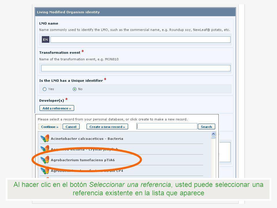 Al hacer clic en el botón Seleccionar una referencia, usted puede seleccionar una referencia existente en la lista que aparece