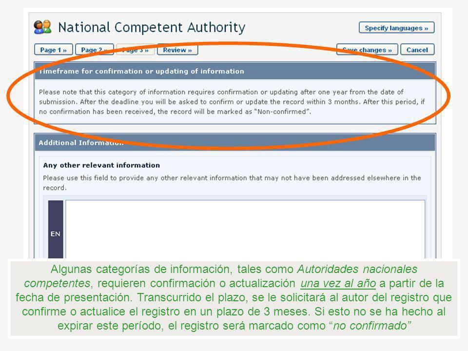 Algunas categorías de información, tales como Autoridades nacionales competentes, requieren confirmación o actualización una vez al año a partir de la fecha de presentación.