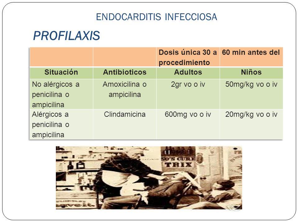 PROFILAXIS ENDOCARDITIS INFECCIOSA Dosis única 30 a procedimiento