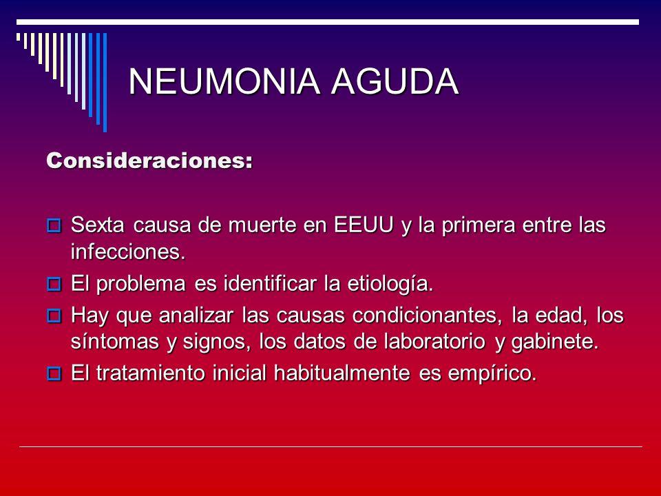 NEUMONIA AGUDA Consideraciones: