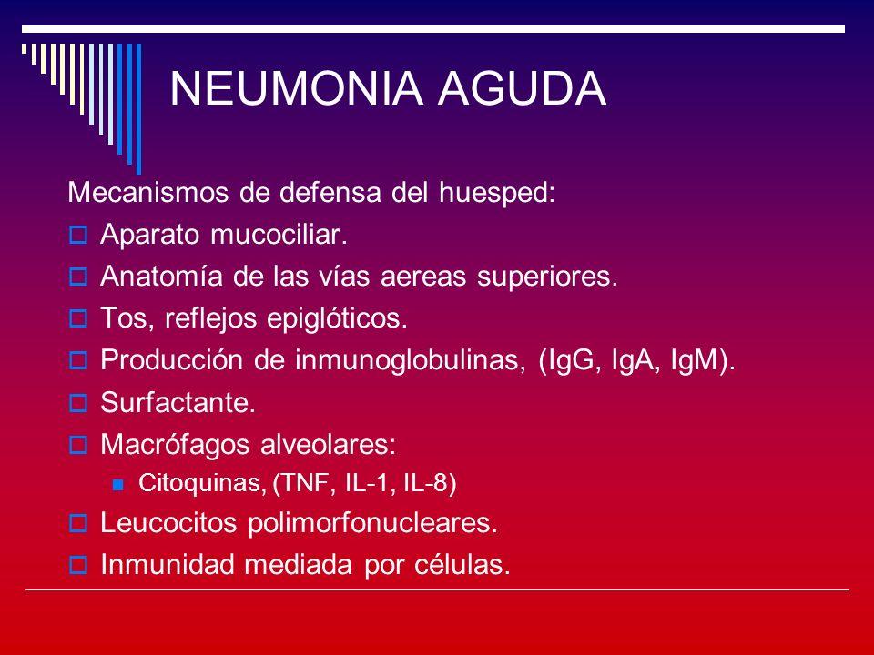 NEUMONIA AGUDA Mecanismos de defensa del huesped: Aparato mucociliar.