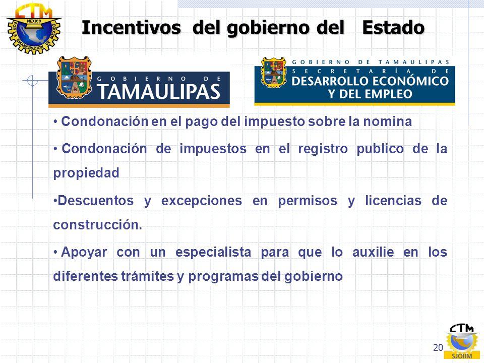 Incentivos del gobierno del Estado