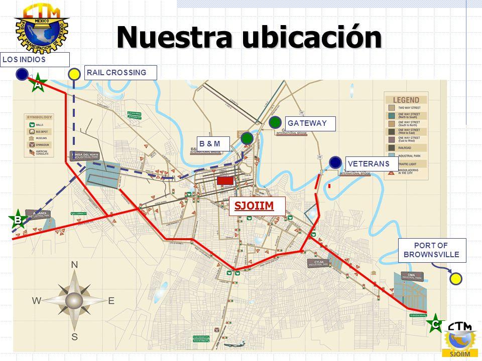 Nuestra ubicación A SJOIIM B C LOS INDIOS RAIL CROSSING GATEWAY B & M