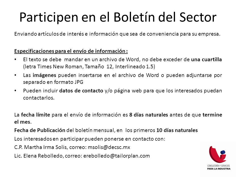 Participen en el Boletín del Sector