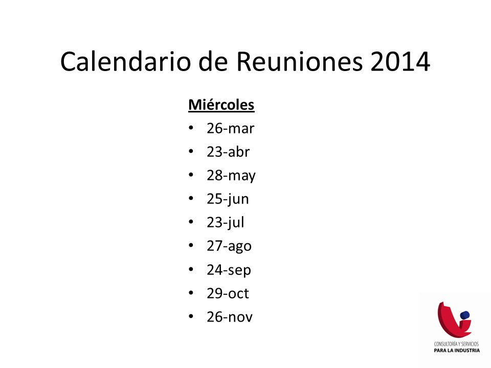 Calendario de Reuniones 2014