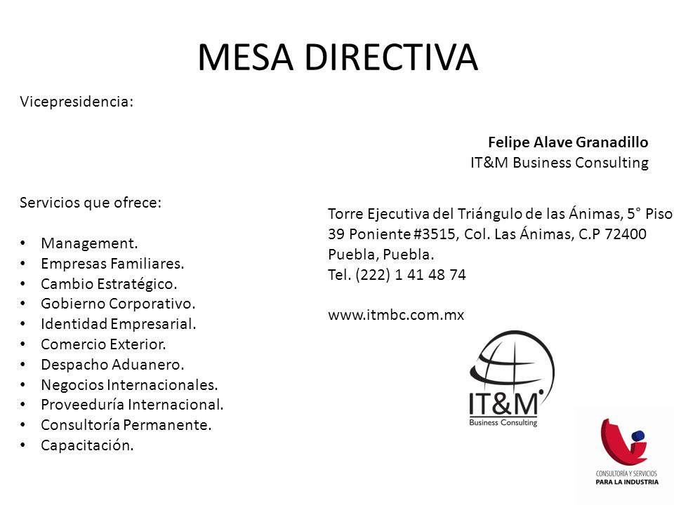 MESA DIRECTIVA Vicepresidencia: Felipe Alave Granadillo