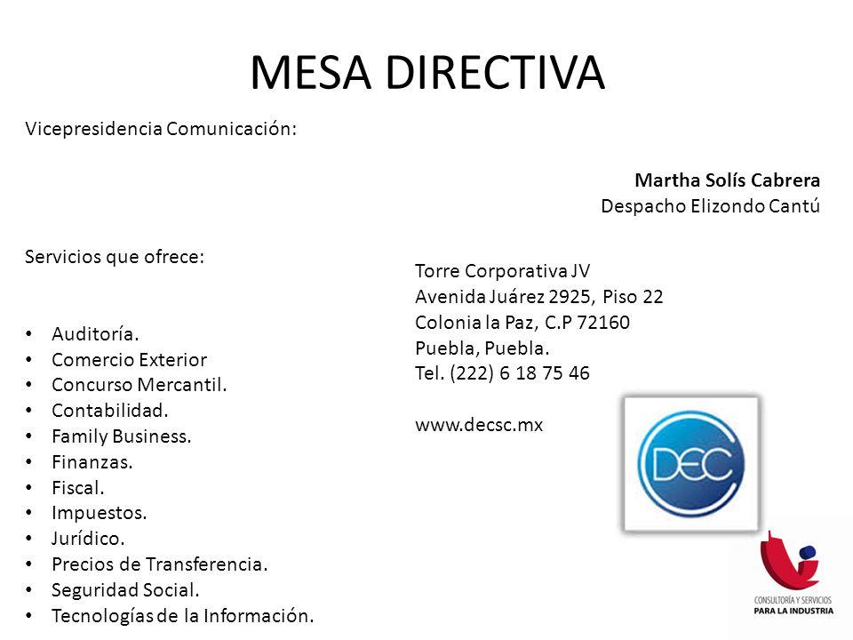 MESA DIRECTIVA Vicepresidencia Comunicación: Martha Solís Cabrera
