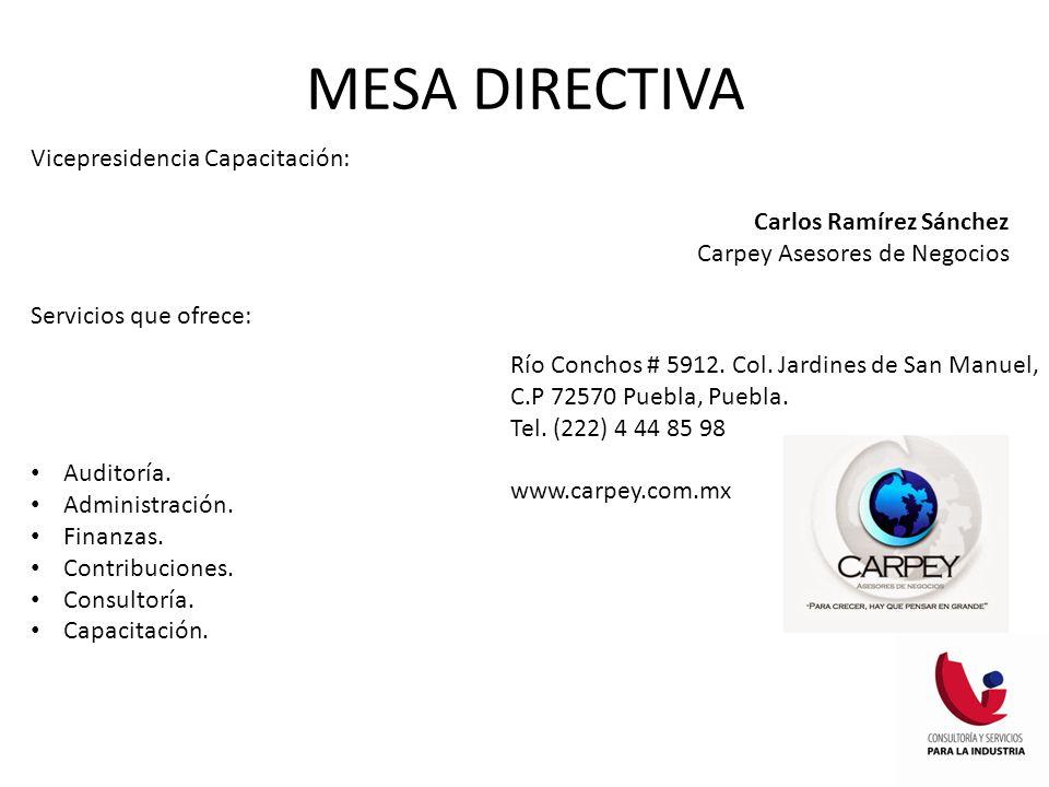 MESA DIRECTIVA Vicepresidencia Capacitación: Carlos Ramírez Sánchez