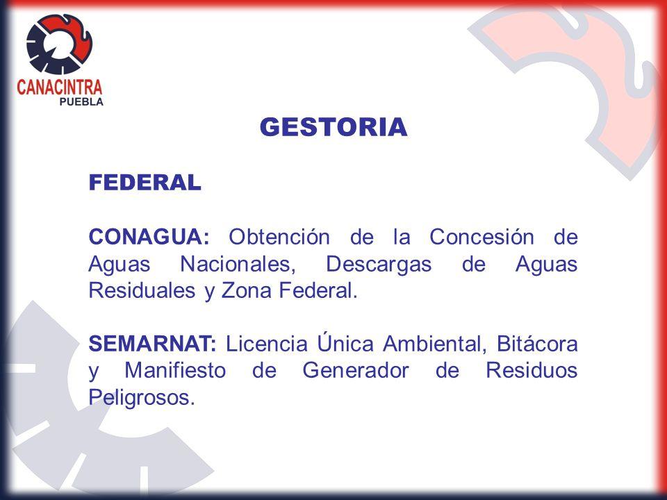 GESTORIA FEDERAL. CONAGUA: Obtención de la Concesión de Aguas Nacionales, Descargas de Aguas Residuales y Zona Federal.
