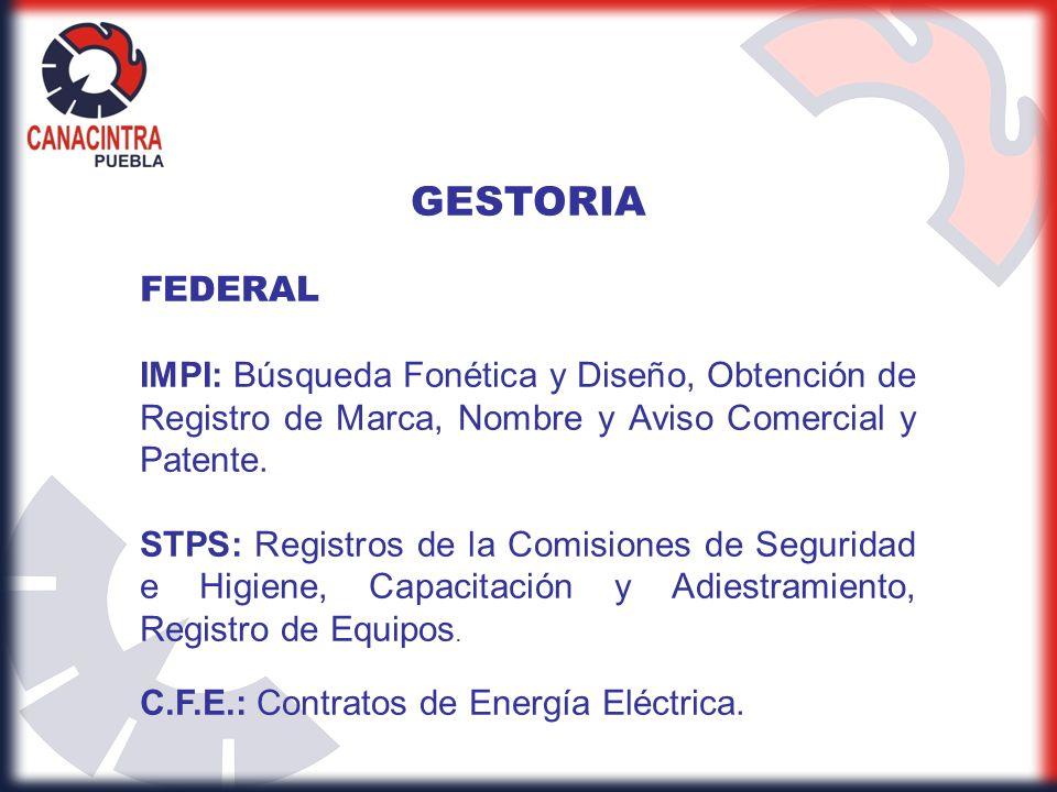 GESTORIA FEDERAL. IMPI: Búsqueda Fonética y Diseño, Obtención de Registro de Marca, Nombre y Aviso Comercial y Patente.