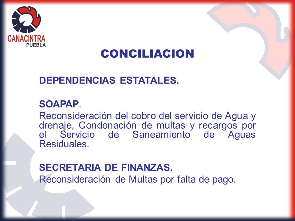 CONCILIACION DEPENDENCIAS ESTATALES. SOAPAP.