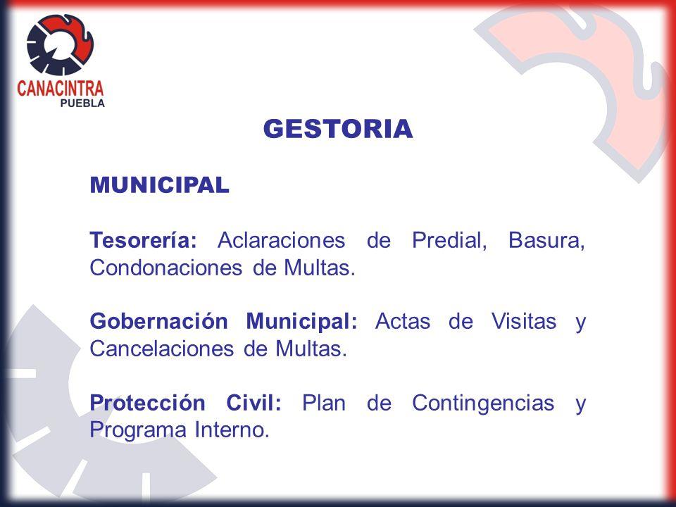 GESTORIA MUNICIPAL. Tesorería: Aclaraciones de Predial, Basura, Condonaciones de Multas.