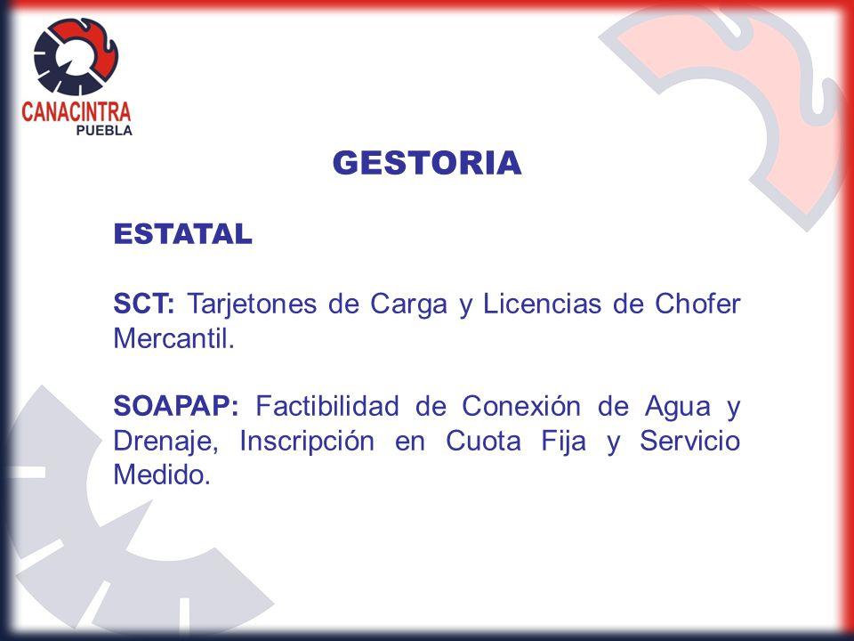 GESTORIA ESTATAL. SCT: Tarjetones de Carga y Licencias de Chofer Mercantil.