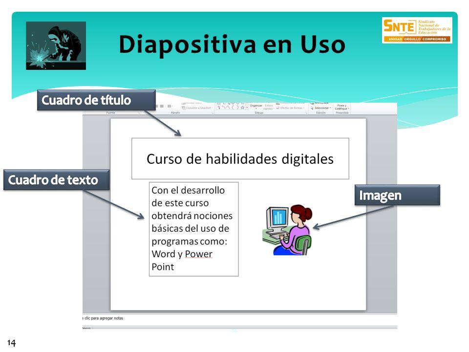 Diapositiva en Uso Cuadro de título Cuadro de texto Imagen 14
