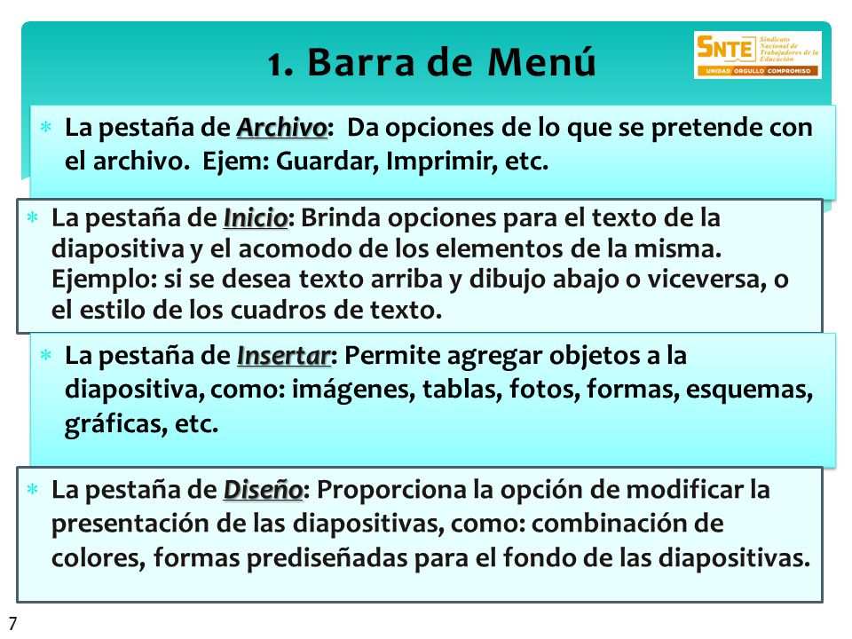 1. Barra de Menú La pestaña de Archivo: Da opciones de lo que se pretende con el archivo. Ejem: Guardar, Imprimir, etc.
