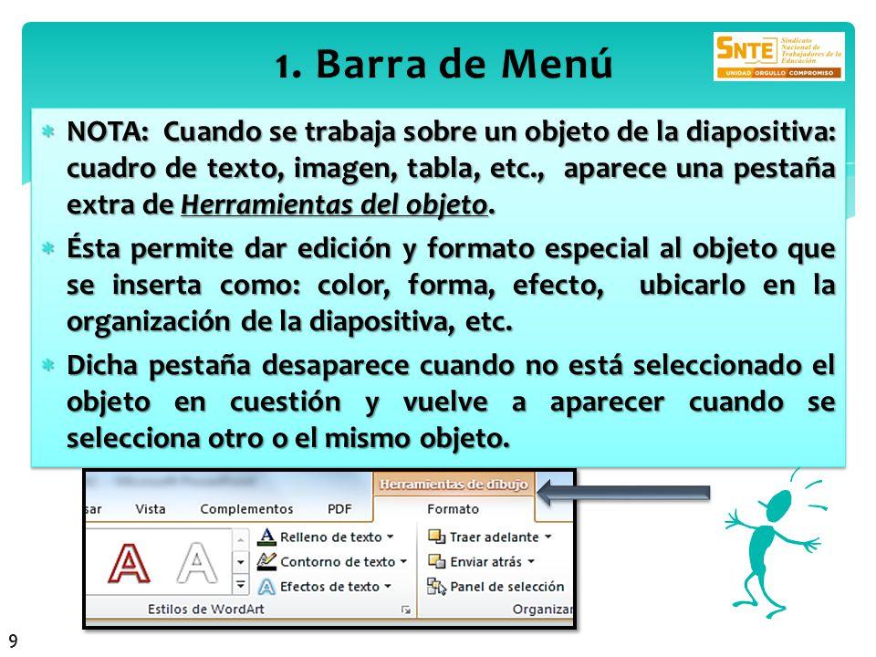 1. Barra de Menú