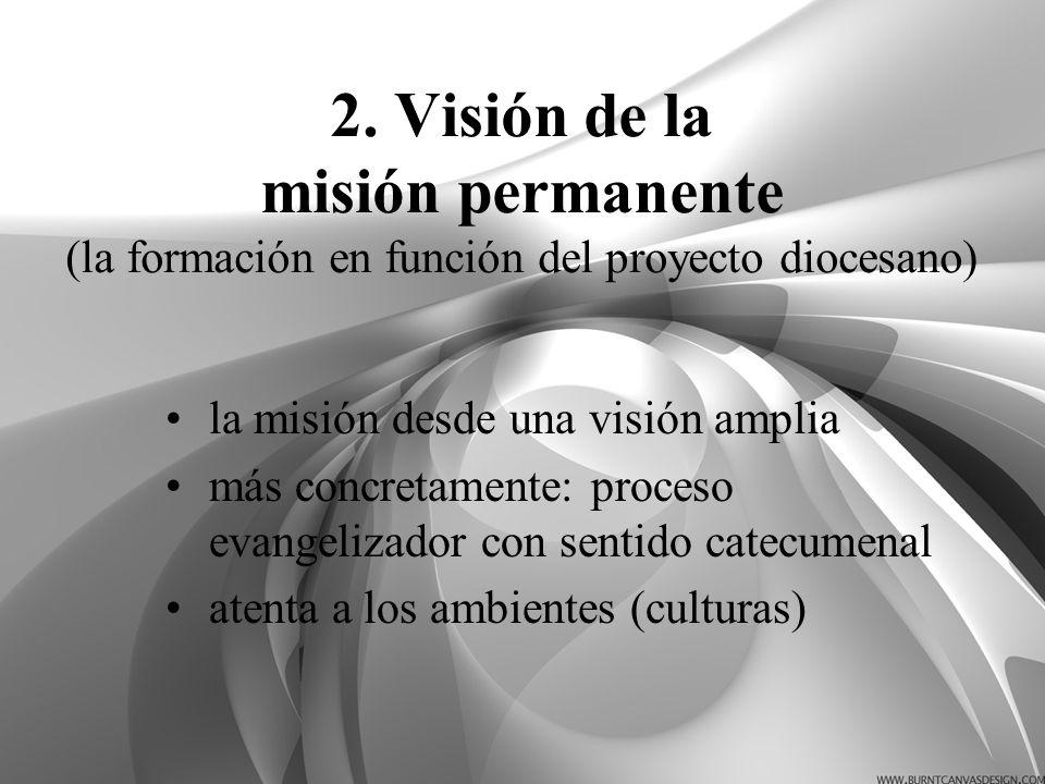 2. Visión de la misión permanente (la formación en función del proyecto diocesano)