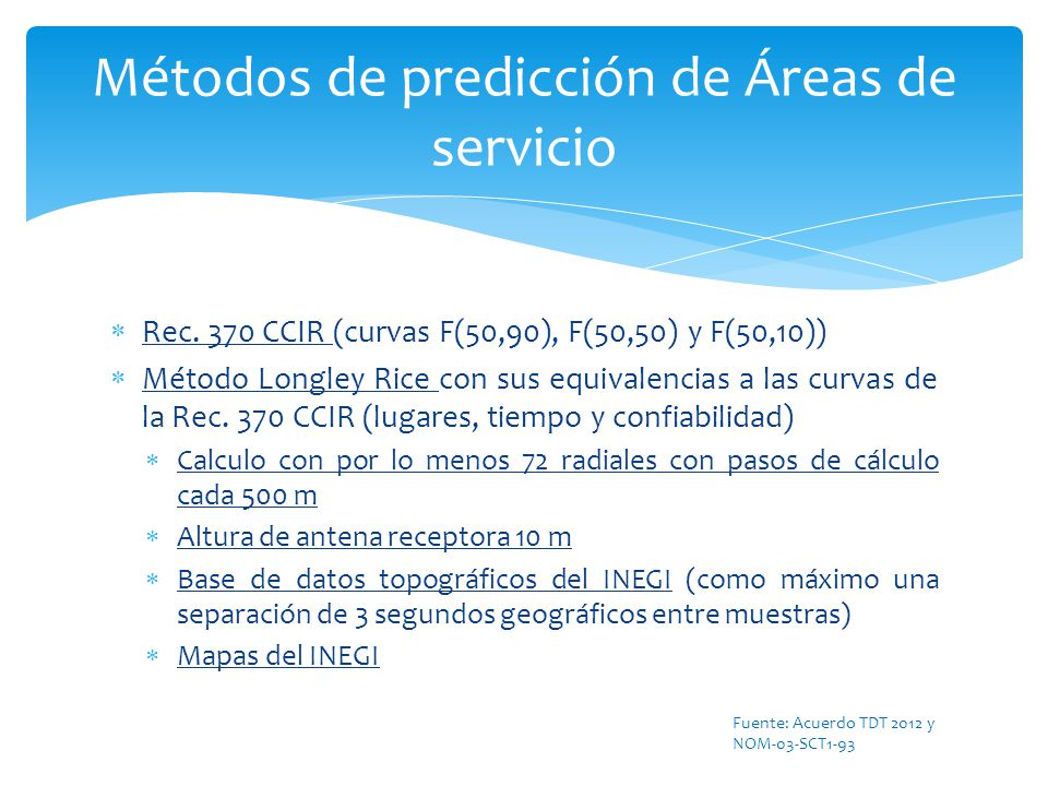 Métodos de predicción de Áreas de servicio