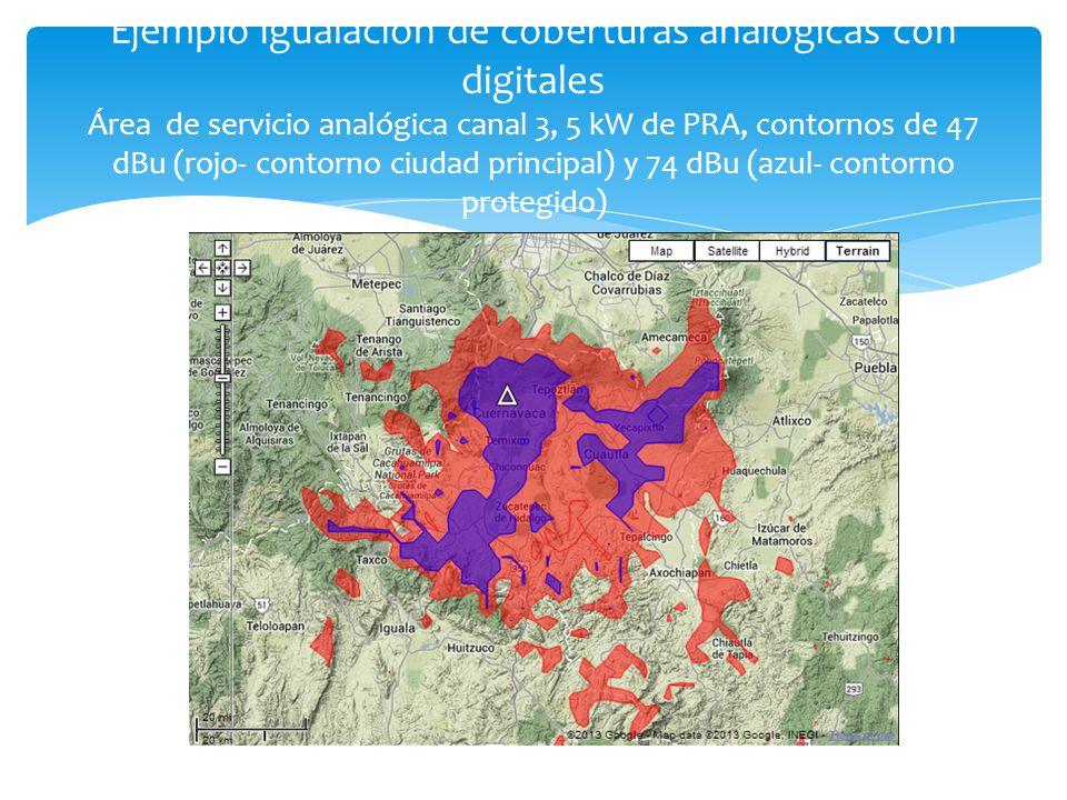 Ejemplo igualación de coberturas analógicas con digitales Área de servicio analógica canal 3, 5 kW de PRA, contornos de 47 dBu (rojo- contorno ciudad principal) y 74 dBu (azul- contorno protegido)