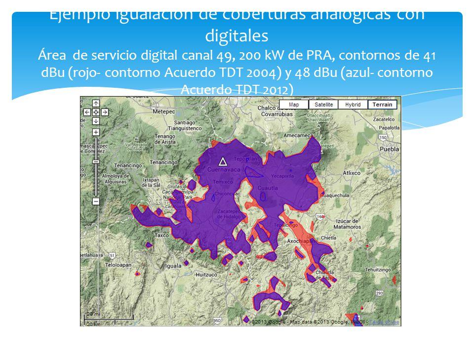Ejemplo igualación de coberturas analógicas con digitales Área de servicio digital canal 49, 200 kW de PRA, contornos de 41 dBu (rojo- contorno Acuerdo TDT 2004) y 48 dBu (azul- contorno Acuerdo TDT 2012)