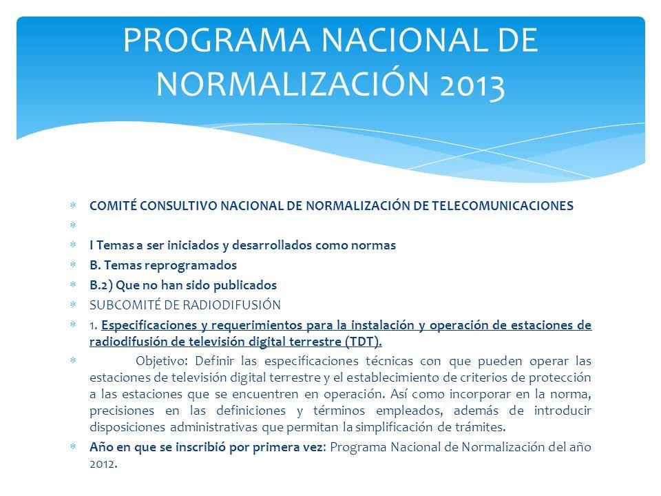 PROGRAMA NACIONAL DE NORMALIZACIÓN 2013