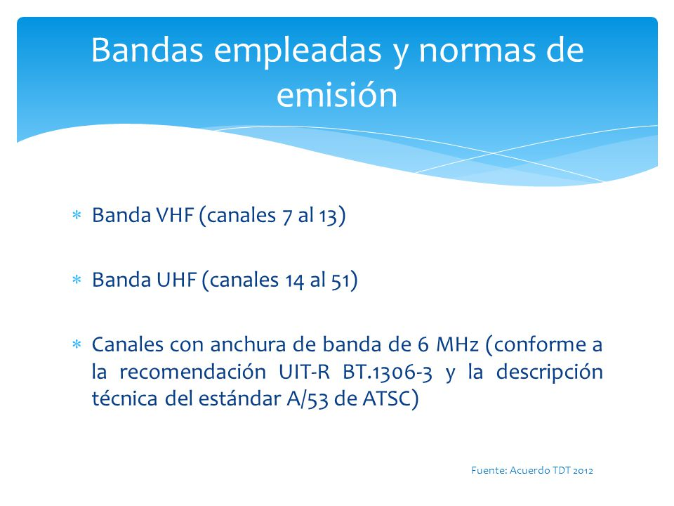 Bandas empleadas y normas de emisión