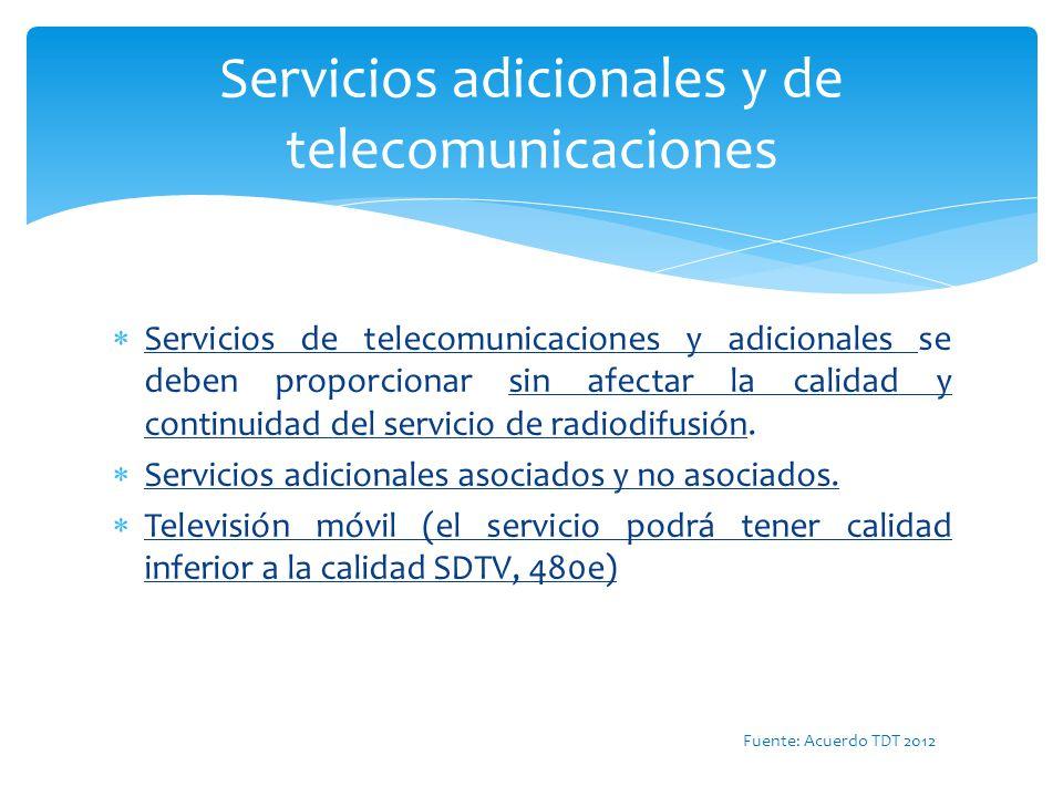 Servicios adicionales y de telecomunicaciones