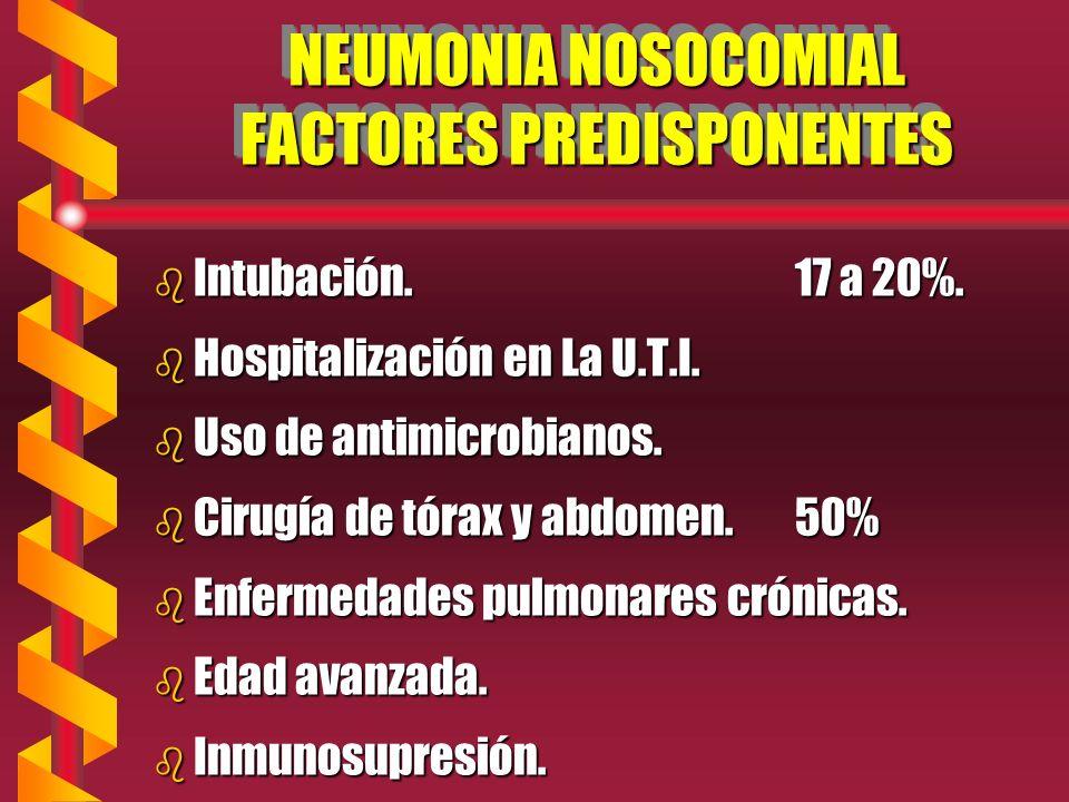 NEUMONIA NOSOCOMIAL FACTORES PREDISPONENTES