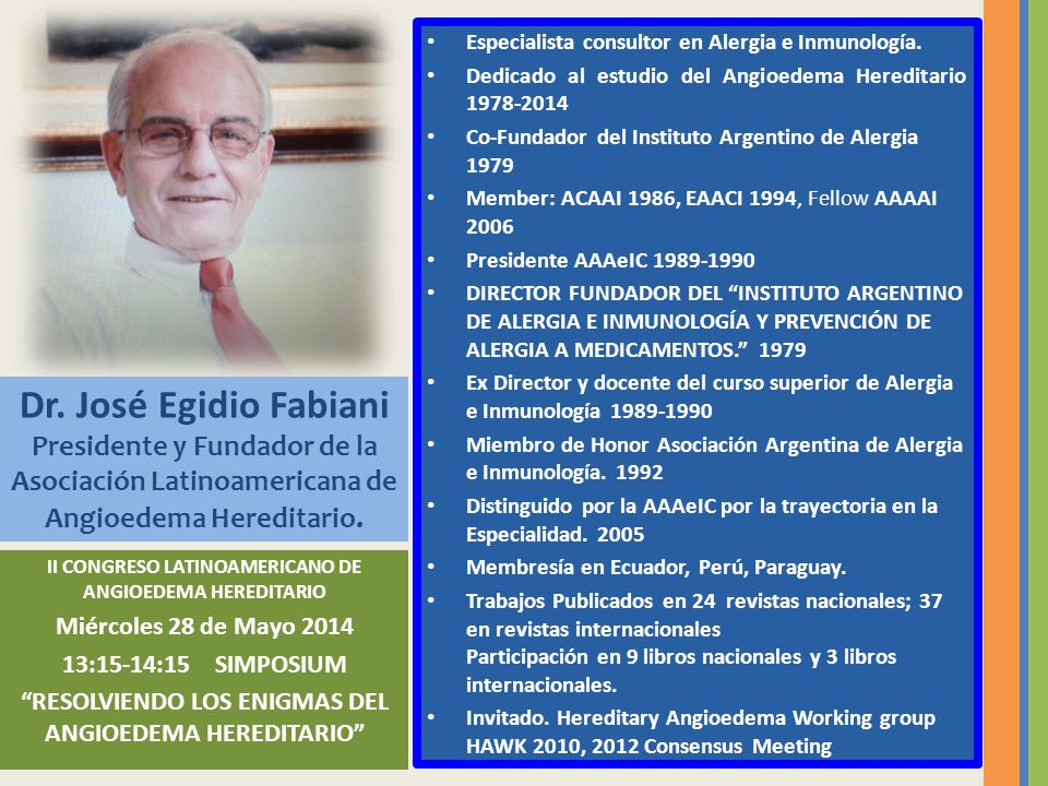 Especialista consultor en Alergia e Inmunología.