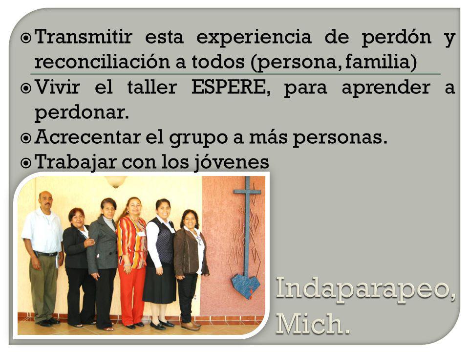 Transmitir esta experiencia de perdón y reconciliación a todos (persona, familia)