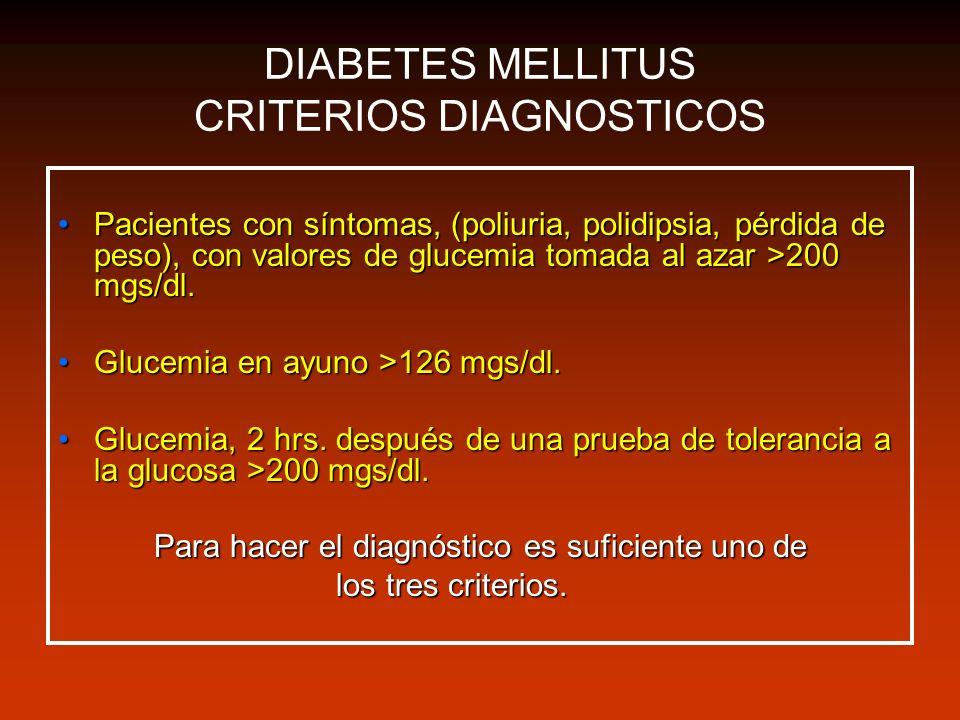 DIABETES MELLITUS CRITERIOS DIAGNOSTICOS