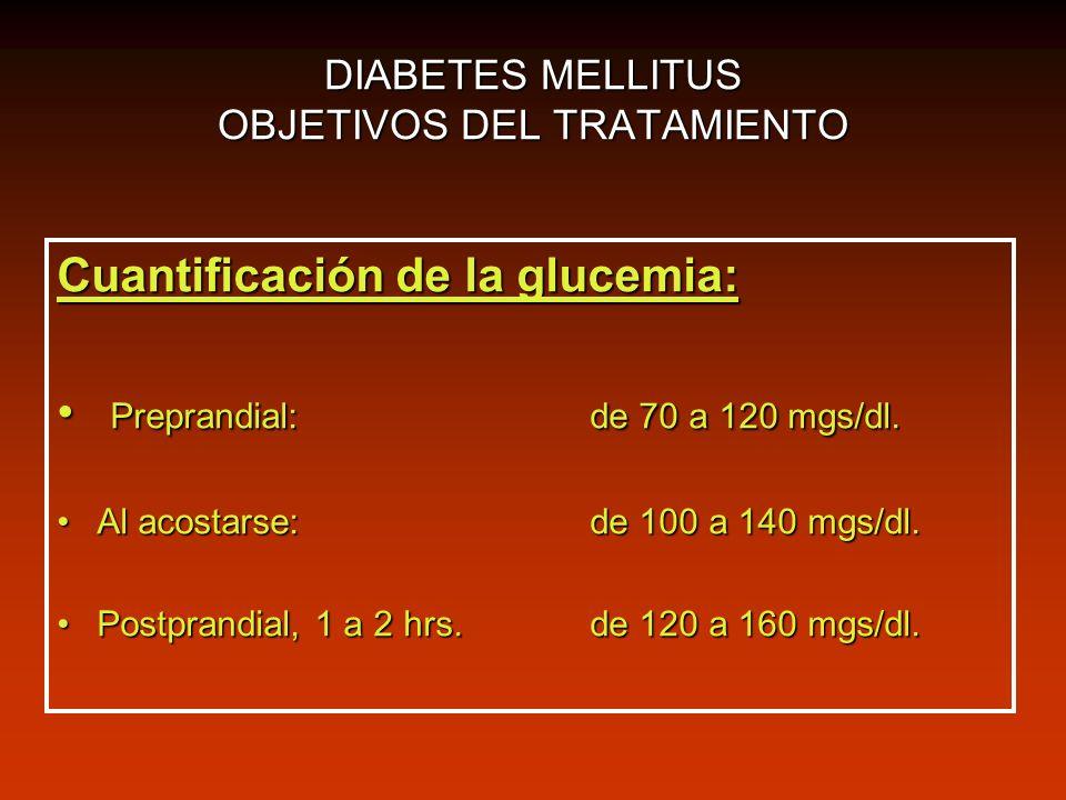 DIABETES MELLITUS OBJETIVOS DEL TRATAMIENTO