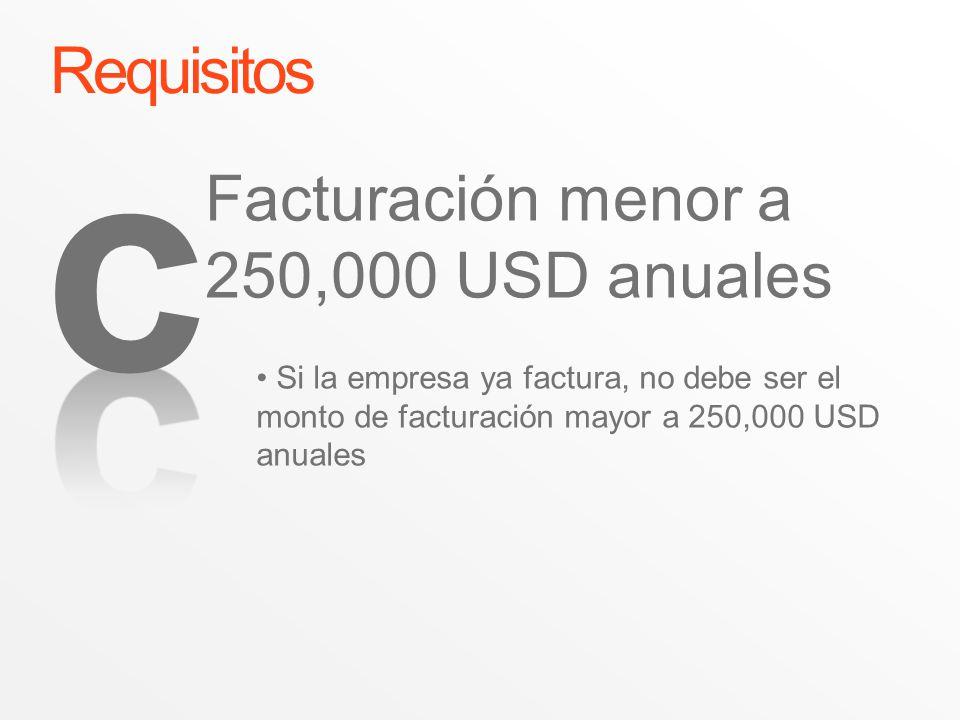 c Requisitos Facturación menor a 250,000 USD anuales