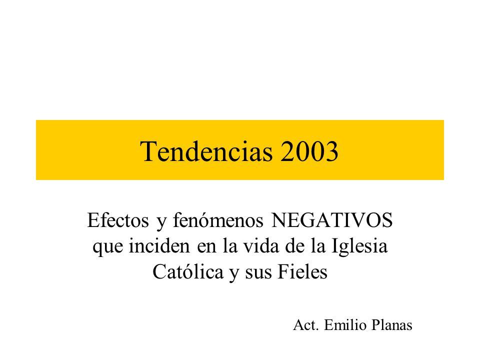 Tendencias 2003 Efectos y fenómenos NEGATIVOS que inciden en la vida de la Iglesia Católica y sus Fieles.