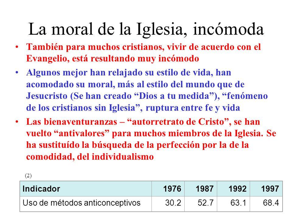 La moral de la Iglesia, incómoda